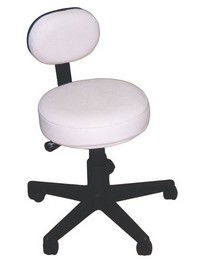 Pneumatic Stool with Back, White 19&#34 - 27&#34 Photo